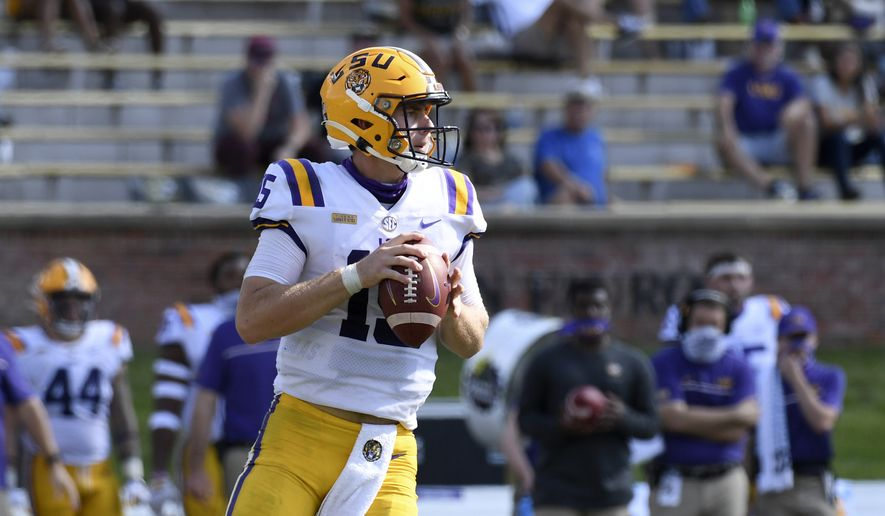 LSU quarterback Myles Brennan looks to pass during the second half of an NCAA college football game against Missouri Saturday, Oct. 10, 2020, in Columbia, Mo. Missouri upset LSU 45-41. (AP Photo/L.G. Patterson)  **FILE**