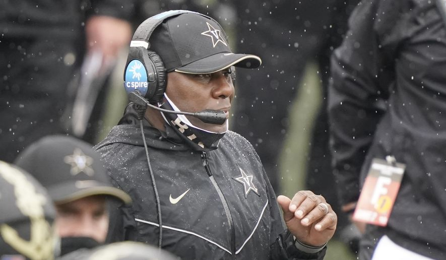 Vanderbilt head coach Derek Mason watches from the sideline in the first half of an NCAA college football game against South Carolina Saturday, Oct. 10, 2020, in Nashville, Tenn. (AP Photo/Mark Humphrey)  **FILE**