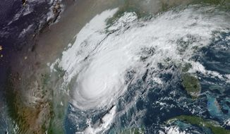 This GOES-16 GeoColor satellite image taken Friday, Oct. 9, 2020, at 10:00 a.m. EDT, and provided by NOAA, shows Hurricane Delta in the Gulf of Mexico. Landfall is expected Friday evening. (NOAA via AP)