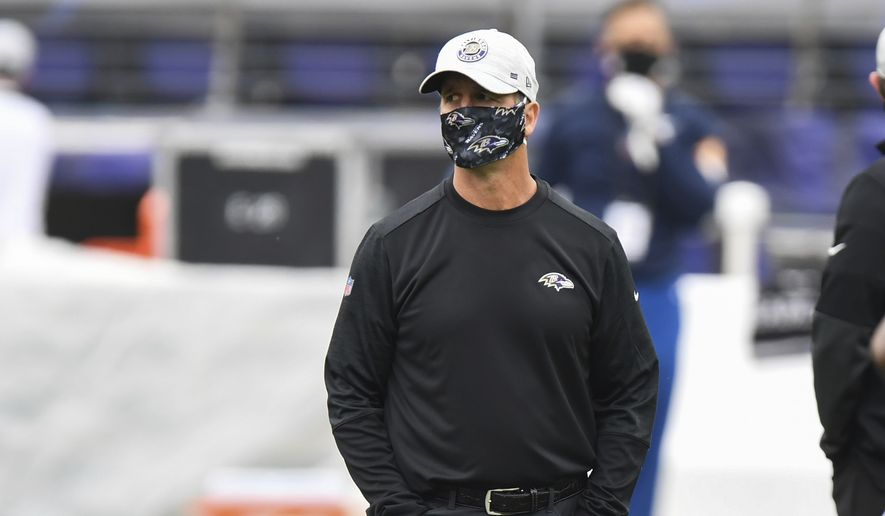 Baltimore Ravens head coach John Harbaugh looks on before an NFL football game against the Cincinnati Bengals, Sunday, Oct. 11, 2020, in Baltimore. (AP Photo/Terrance Williams)  **FILE**