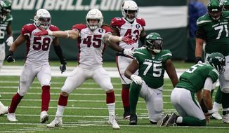 Arizona Cardinals linebacker Dennis Gardeck (45) reacts after sacking New York Jets quarterback Joe Flacco (5) during the second half of an NFL football game, Sunday, Oct. 11, 2020, in East Rutherford. (AP Photo/Seth Wenig)