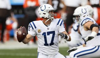 Indianapolis Colts quarterback Philip Rivers looks to throw during the first half of an NFL football game against the Cleveland Browns, Sunday, Oct. 11, 2020, in Cleveland. (AP Photo/Ron Schwane)