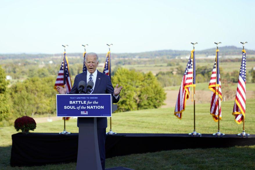 Democratic presidential candidate former Vice President Joe Biden speaks at Gettysburg National Military Park in Gettysburg, Pa., Tuesday, Oct. 6, 2020. (AP Photo/Andrew Harnik)