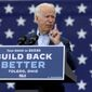 Presidential candidate Joe Biden speaks at a drive-in rally at UAW Local 14 in Toledo, Ohio, on Monday, Oct. 12, 2020. (Lori King/The Blade via AP)