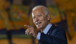 Democratic presidential candidate former Vice President Joe Biden speaks at Cincinnati Museum Center at Union Terminal in Cincinnati, Monday, Oct. 12, 2020. (AP Photo/Carolyn Kaster)