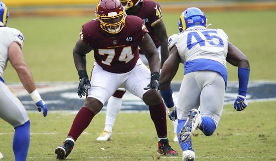 Washington Football Team offensive tackle Geron Christian (74) in action during an NFL game against the Los Angeles Rams, Sunday, October 11, 2020 in Landover, Md. (AP Photo/Daniel Kucin Jr.)