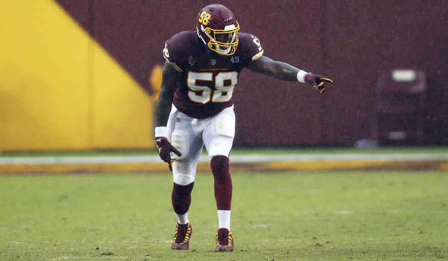 Washington Football Team outside linebacker Thomas Davis (58) in action during an NFL game against the Los Angeles Rams, Sunday, October 11, 2020 in Landover, Md. (AP Photo/Daniel Kucin Jr.)