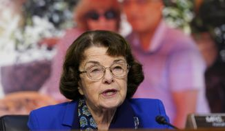Sen. Dianne Feinstein, D-Calif., speaks during a confirmation hearing for Supreme Court nominee Amy Coney Barrett before the Senate Judiciary Committee, Monday, Oct. 12, 2020, on Capitol Hill in Washington. (AP Photo/Susan Walsh, Pool)