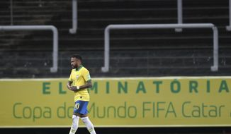 Brazil's Neymar leaves the field at the end of a qualifying soccer match for the FIFA World Cup Qatar 2022 against Bolivia at the Neo Quimica arena in Sao Paulo, Brazil, Friday, Oct. 9, 2020. Brazil won 5-0. (Buda Mendes/Pool via AP)