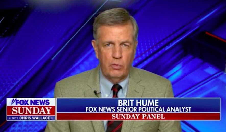 """Fox News senior political analyst Brit Hume claimed Sunday that Joe Biden's """"senility"""" has been on display for some time now and that President Trump should let it shine through as much as possible if he has any chance at winning reelection. (Screengrab via Fox News)  ** FILE **"""