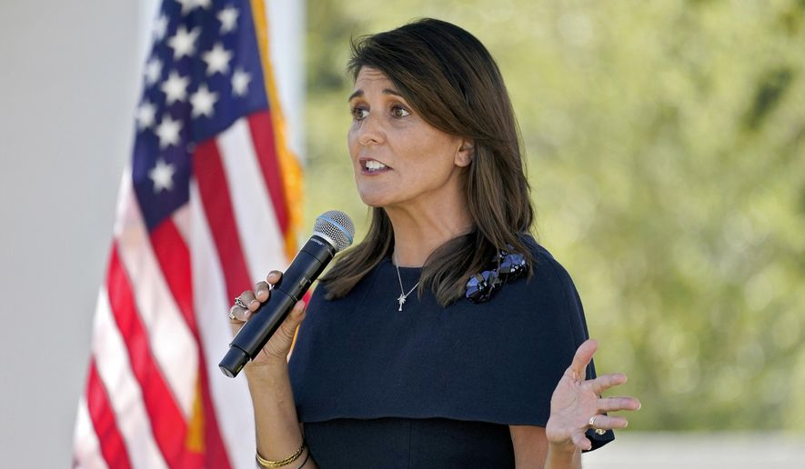 Former U.N. Ambassador Nikki Haley speaks while campaigning for U.S Sen. Martha McSally, R-Ariz., Monday, Oct. 12, 2020, in Scottsdale, Ariz. (AP Photo/Matt York) ** FILE **