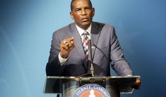 4th Congressional District Republican candidate Burgess Owens speaks during an Utah Debate Commission debate against Democratic Utah Congressman Ben McAdams on Monday, Oct. 12, 2020, in Salt Lake City. (Kristin Murphy/ Deseret News, via AP, Pool)