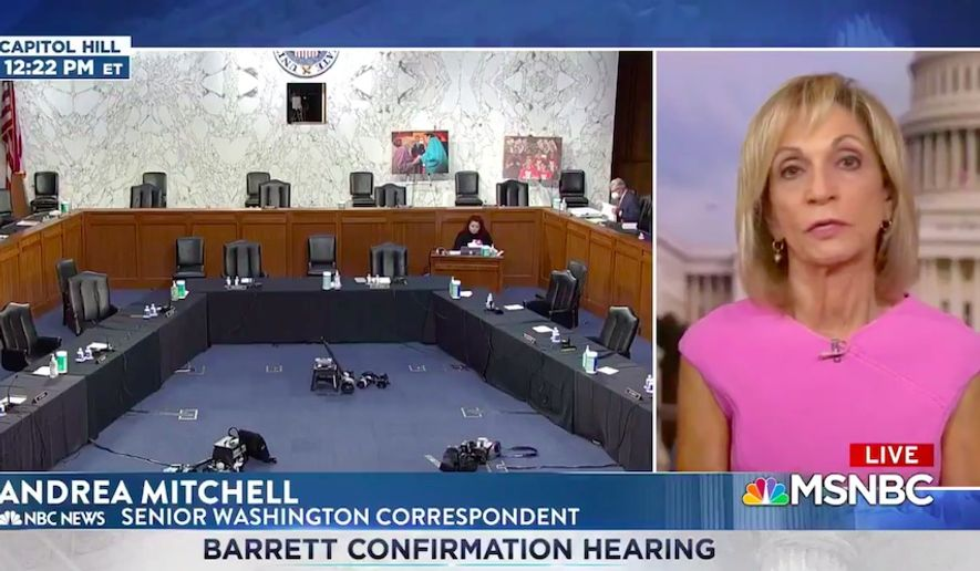 "MSNBC anchor Andrea Mitchell lauded Supreme Court nominee Amy Coney Barrett for sharing her story about being a White mother of Black children during her confirmation hearing Tuesday, saying it made her ""very accessible"" and ""appealing"" to Americans. (Screengrab via MSNBC)"
