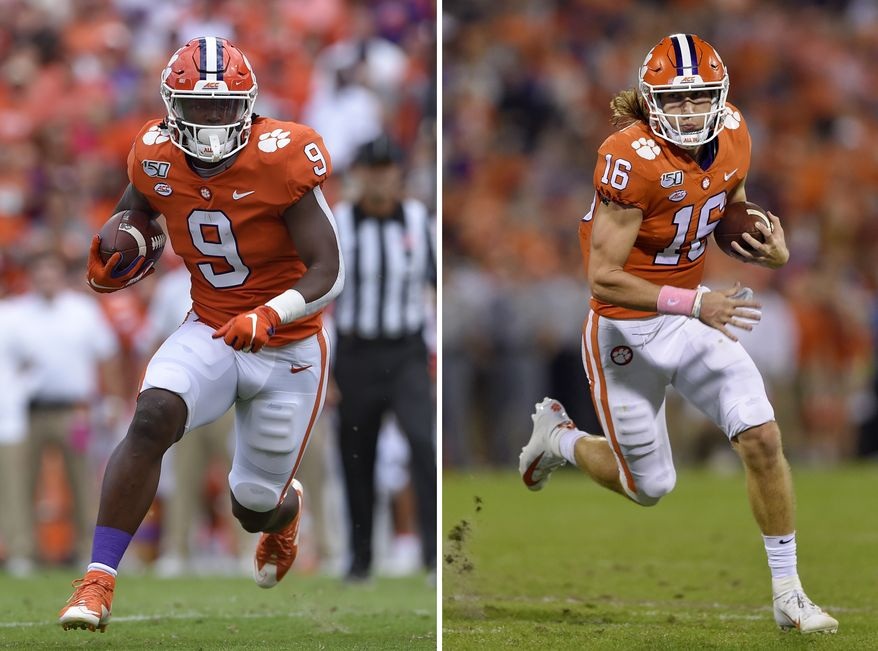 At left, in a Saturday, Oct. 12, 2019, file photo, Clemson's Travis Etienne runs out of the backfield to score a touchdown during the first half of an NCAA college football game against Florida State, in Clemson, S.C. At right, in a Saturday, Oct. 26, 2019, file photo, Clemson's Trevor Lawrence rushes on a quarterback keeper during the first half of an NCAA college football game against Boston College, in Clemson, S.C. Clemson quarterback Trevor Lawrence and tailback Travis Etienne love competing on the same side with the top-ranked Tigers. If they keep playing as they have, they may be competing against each other for college football's biggest individual prize, the Heisman Trophy. (AP Photo/Richsard Shiro, File)  **FILE**