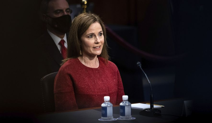 Supreme Court nominee Amy Coney Barrett speaks during a confirmation hearing before the Senate Judiciary Committee, Tuesday, Oct. 13, 2020, on Capitol Hill in Washington. (Erin Schaff/The New York Times via AP, Pool)
