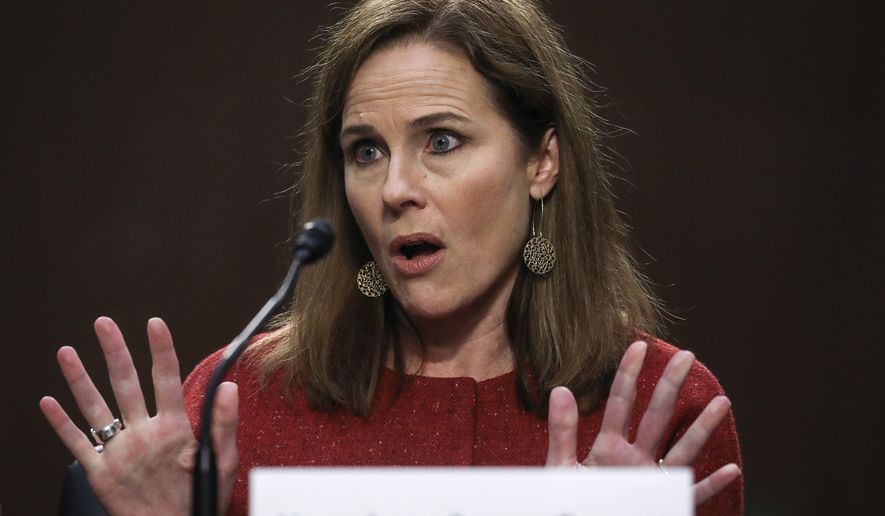 Supreme Court nominee Amy Coney Barrett testifies during her confirmation hearing before the Senate Judiciary Committee on Capitol Hill in Washington, Tuesday, Oct. 13, 2020. (Leah Millis/Pool via AP)
