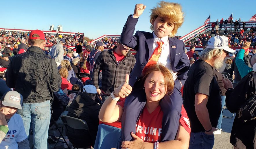 Trump super-fan dresses boy as president at rally in Johnstown, Pa., where an estimated 10,000 supporters showed up. (Photograph by S.A. Miller/The Washington Times)