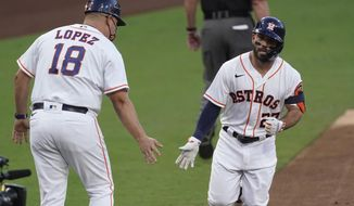 Houston Astros' Jose Altuve is congratulated by third base coach Omar Lopez after hitting a solo home run against against the Tampa Bay Rays starting pitcher Ryan Yarbrough during the first inning in Game 3 of a baseball American League Championship Series, Tuesday, Oct. 13, 2020, in San Diego. (AP Photo/Ashley Landis)