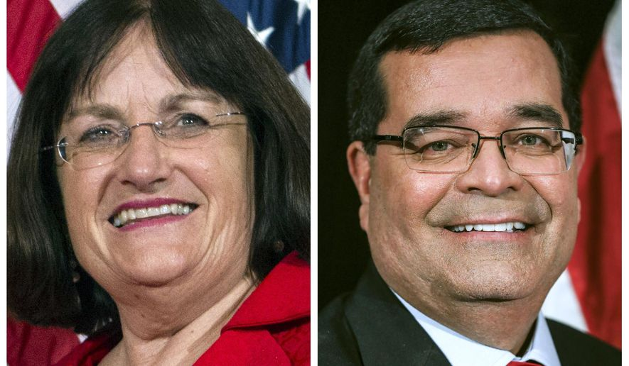 FILE - This photo combo shows incumbent U.S. Rep. Annie Kuster, D-N.H., left, and Republican challenger Steve Negron, right, candidates in New Hampshire's 2nd Congressional District in Nov. 3, 2020, general election. (AP Photos, file)