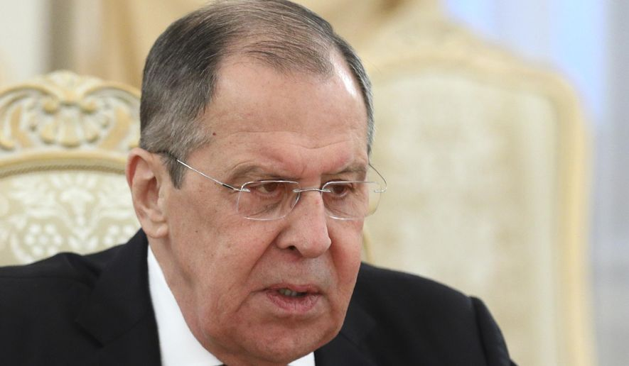In this photo released by Russian Foreign Ministry Press Service, Russian Foreign Minister Sergei Lavrov attends a meeting with Armenia's Foreign Minister Zohrab Mnatsakanyan in Moscow on Monday, Oct. 12, 2020. (Russian Foreign Ministry Press Service via AP) **FILE**