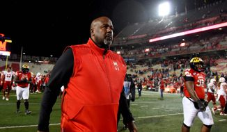 "Maryland coach Michael Locksley said he feels ""good about the direction we're moving"" on defense. The Terrapins allowed an average of 450 yards per game in 2019.  (Associated Press)"