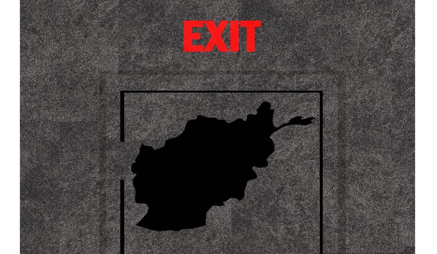 Illustration on the exit from Afghanistan by Alexander Hunter/The Washington Times