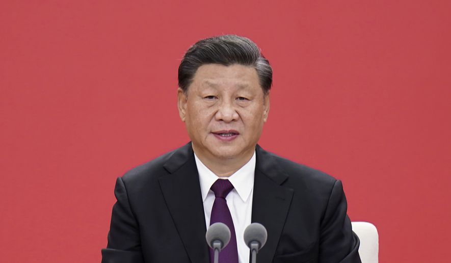 In this photo released by China's Xinhua News Agency, Chinese President Xi Jinping speaks during an event to commemorate the 40th anniversary of the establishment of the Shenzhen Special Economic Zone in Shenzhen in southern China's Guangdong Province, Wednesday, Oct. 14, 2020. President Xi Jinping promised Wednesday new steps to back development of China's biggest tech center, Shenzhen, amid a feud with Washington that has disrupted access to U.S. technology and is fueling ambitions to create Chinese providers. (Zhang Ling/Xinhua via AP)