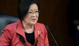 Sen. Mazie Hirono, D-Hawaii, speaks to Supreme Court nominee Amy Coney Barrett during her confirmation hearing before the Senate Judiciary Committee, Wednesday, Oct. 14, 2020, on Capitol Hill in Washington. (AP Photo/Susan Walsh, Pool)