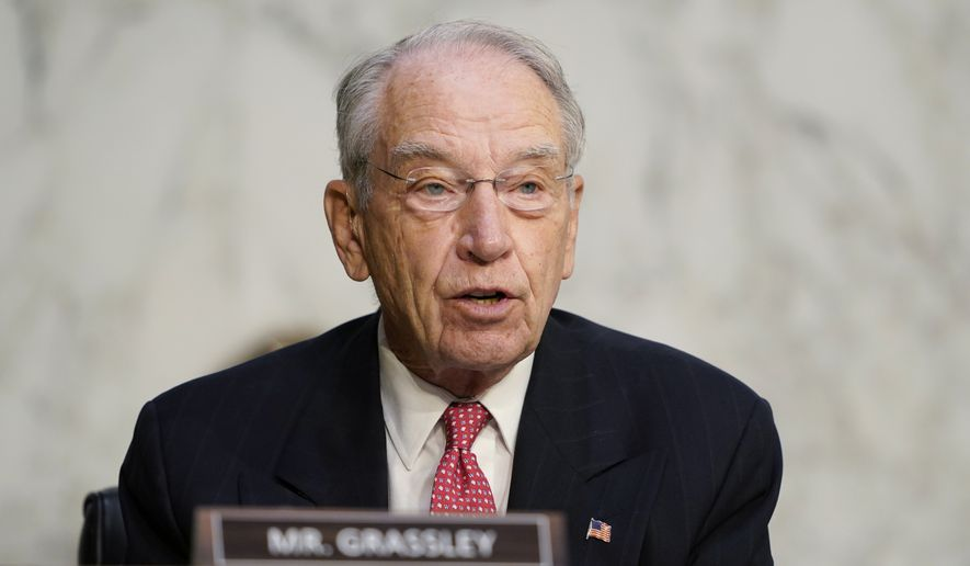 Sen. Charles Grassley, R-Iowa, speaks during the confirmation hearing for Supreme Court nominee Amy Coney Barrett, before the Senate Judiciary Committee, Wednesday, Oct. 14, 2020, on Capitol Hill in Washington. (AP Photo/Susan Walsh, Pool)