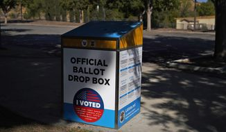 An official ballot drop box is seen Wednesday, Oct. 14, 2020, in Santa Clarita, Calif. With more than 1.5 million votes already cast in California, state Republican Party leaders on Wednesday said they will not comply with an order from the state's chief elections official to remove unofficial ballot drop boxes from counties with competitive U.S. House races.(AP Photo/Marcio Jose Sanchez)