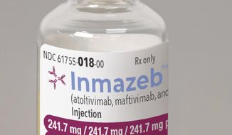 This image provided by Regeneron on Wednesday, Oct. 14, 2020 shows a vial of the company's Inmazeb medication. On Wednesday, the U.S. Food and Drug Administration said it has approved the drug for treating Ebola in both adults and children. (Regeneron via AP)