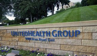 This July 12, 2019, photo shows the UnitedHealthcare headquarters in Minneapolis. UnitedHealth Group beat forecasts for its earnings in the third quarter, and the U.S.'s largest health insurance provider finally hiked its 2020 outlook after holding off while trying to sort out COVID-19's impact. (AP Photo/Jim Mone, File)