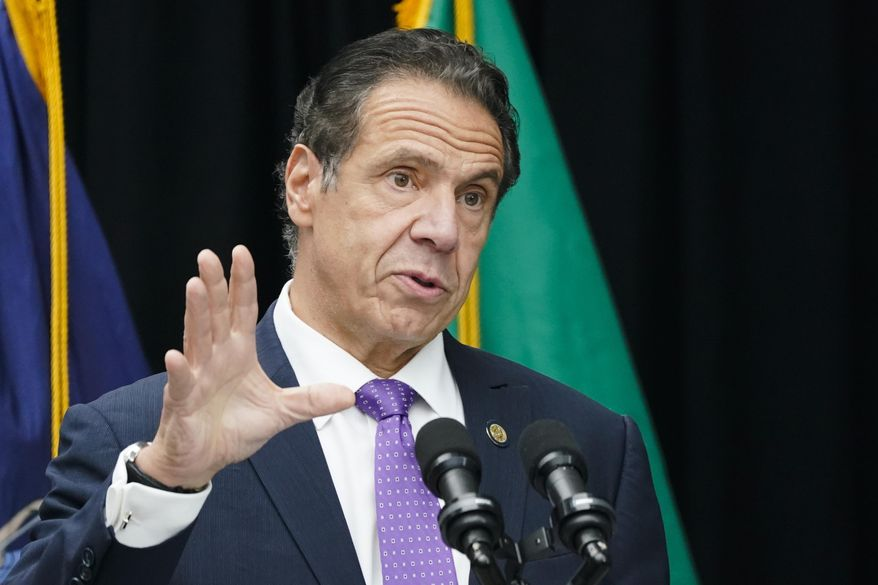 In this Oct. 12, 2020, file photo, New York Gov. Andrew Cuomo speaks during a ceremony unveiling a statue of Mother Frances Cabrini, the patron saint of immigrants, in Battery Park in New York. (AP Photo/Frank Franklin II, File)
