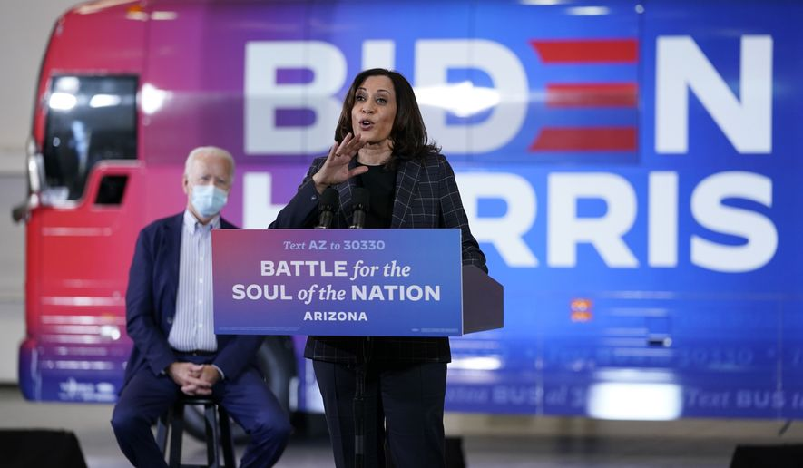 Democratic vice presidential candidate Sen. Kamala Harris, D-Calif., speaka at the Carpenters Local Union 1912 in Phoenix, Thursday, Oct. 8, 2020, to kick off a small business bus tour with Democratic presidential candidate former Vice President Joe Biden. (AP Photo/Carolyn Kaster)