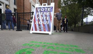 Voters line up and wait to cast a ballot for the general election at the American Airlines Center during early voting Thursday, Oct. 15, 2020, in Dallas. (AP Photo/LM Otero)