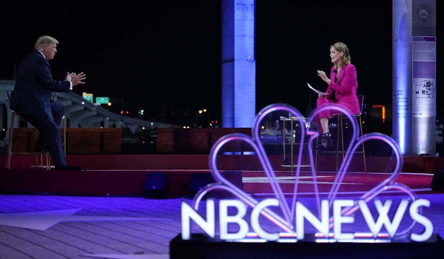 President Donald Trump speaks during an NBC News Town Hall with moderator Savannah Guthrie at Perez Art Museum Miami, Thursday, Oct. 15, 2020, in Miami. (AP Photo/Evan Vucci)