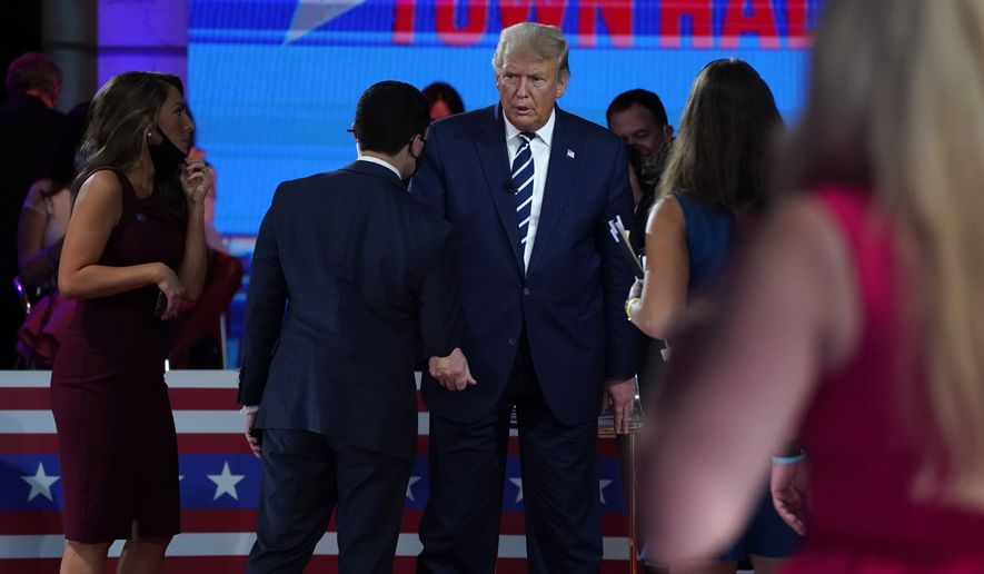 President Donald Trump stands during a break in an NBC News Town Hall, at Perez Art Museum Miami, Thursday, Oct. 15, 2020, in Miami. (AP Photo/Evan Vucci)