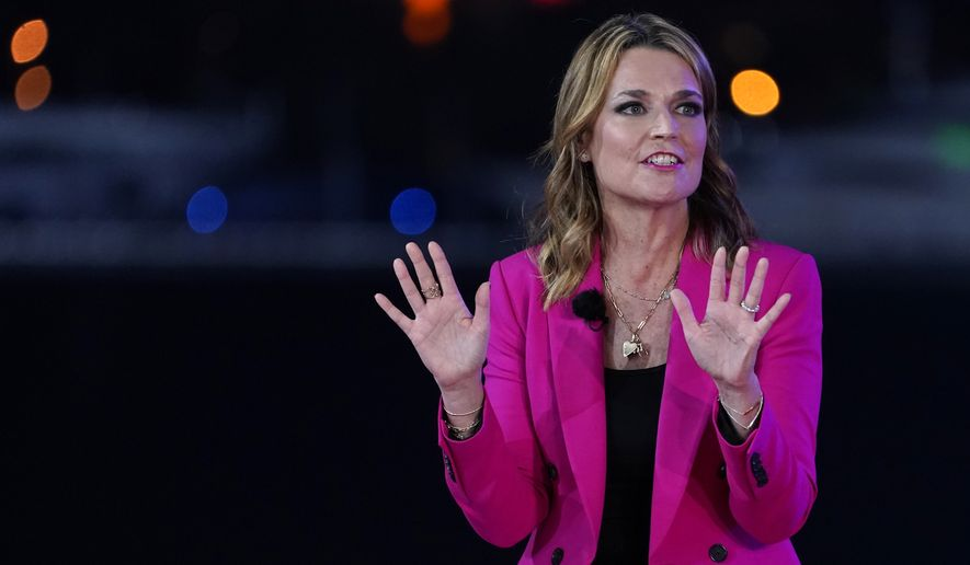 Moderator Savannah Guthrie speaks during an NBC News Town Hall with President Donald Trump at Perez Art Museum Miami, Thursday, Oct. 15, 2020, in Miami. (AP Photo/Evan Vucci)