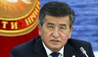 In this file photo taken on Friday, Aug. 9, 2019, Kyrgyzstan's President Sooronbai Jeenbekov speaks at the Eurasian Economic Union Intergovernmental Council in Cholpon-Ata, Kyrgyzstan. The president of Kyrgyzstan announced his resignation in a bid to end the turmoil that has engulfed the Central Asian nation after a disputed parliamentary election. In a statement Thursday, Oct. 15, 2020, released by his office. (Yekaterina Shtukina, Sputnik, Government Pool Photo via AP, File)
