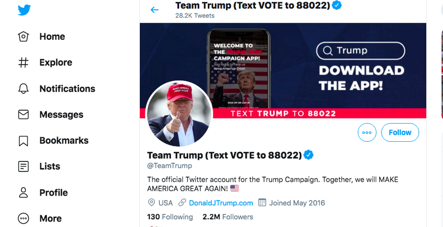 A screenshot of the Trump Team's Twitter page.