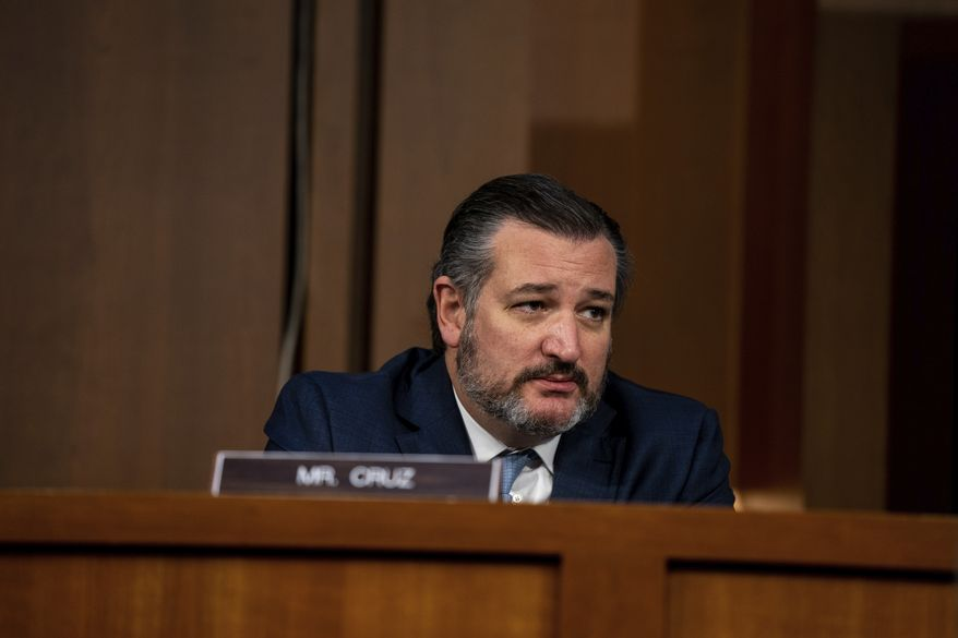 Sen. Ted Cruz, R-Texas, listens during the confirmation hearing for Supreme Court nominee Amy Coney Barrett, before the Senate Judiciary Committee, Thursday, Oct. 15, 2020, on Capitol Hill in Washington. (Anna Moneymaker/The New York Times via AP, Pool)