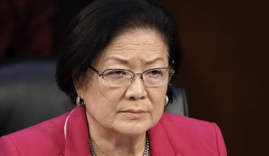 Sen. Mazie Hirono, D-Hawaii, speaks as the Senate Judiciary Committee hears from legal experts on the final day of the confirmation hearing for Supreme Court nominee Amy Coney Barrett, on Capitol Hill in Washington, Thursday, Oct. 15, 2020. (AP Photo/J. Scott Applewhite)