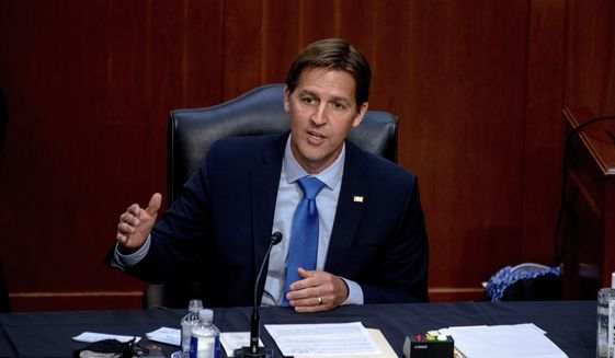 In this Oct. 14, 2020, file photo, Sen. Ben Sasse, R-Neb., speaks during the confirmation hearing for Supreme Court nominee Amy Coney Barrett, before the Senate Judiciary Committee on Capitol Hill in Washington. Sen. Sasse told constituents in a telephone town hall meeting that President Donald Trump has flirted with White supremacists, mocks Christian evangelicals in private, and kisses dictators' butts. (Hilary Swift/The New York Times via AP, Pool, File)