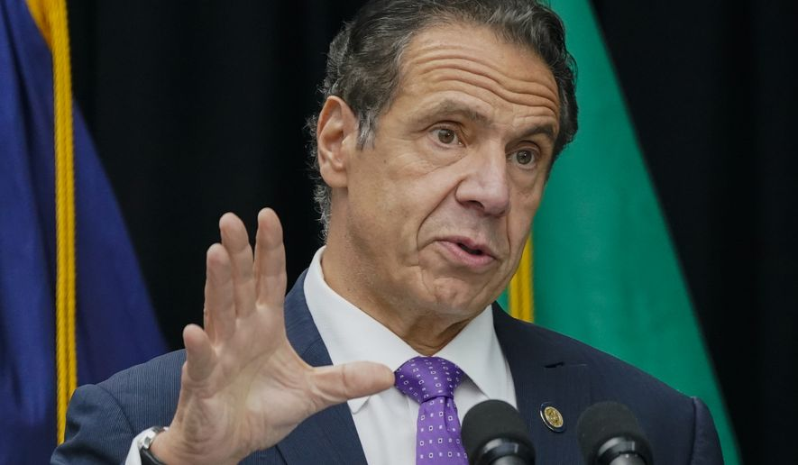 In this Oct. 12, 2020 photo, New York Gov. Andrew Cuomo speaks during a ceremony unveiling a statue of Mother Frances Cabrini, the patron saint of immigrants, in Battery Park in New York. (AP Photo/Frank Franklin II, File)