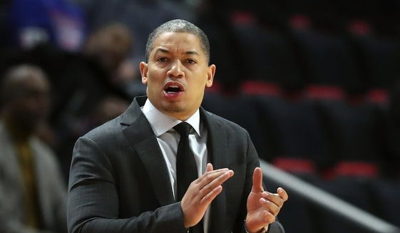 In this Thursday, Oct. 25, 2018, file photo, Cleveland Cavaliers head coach Tyronn Lue gestures during the first half of an NBA basketball game against the Detroit Pistons, in Detroit. Tyronn Lue has agreed in principle to become the next coach of the Los Angeles Clippers. Final terms were still being worked on, according to the person who spoke to The Associated Press on condition of anonymity Thursday, Oct. 15, 2020, because no contract had been signed. (AP Photo/Carlos Osorio, File)  **FiLE**