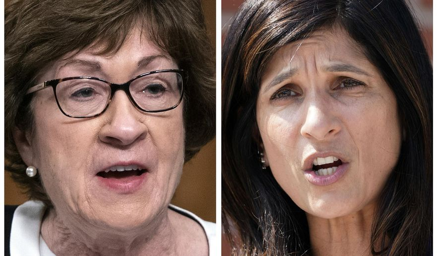 FILE - This pair of 2020 file photos shows incumbent U.S. Sen. Susan Collins, R-Maine, left, and Maine House Speaker Sara Gideon, D-Freeport, right, who are running in the Nov. 3, 2020, election to represent Maine in the U.S. Senate. (AP Photos, File)