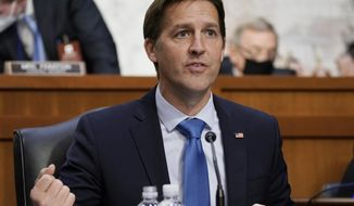 Sen. Ben Sasse, R-Neb., speaks during the confirmation hearing for Supreme Court nominee Amy Coney Barrett, before the Senate Judiciary Committee, Wednesday, Oct. 14, 2020, on Capitol Hill in Washington. (Ken Cedeno/Pool via AP)