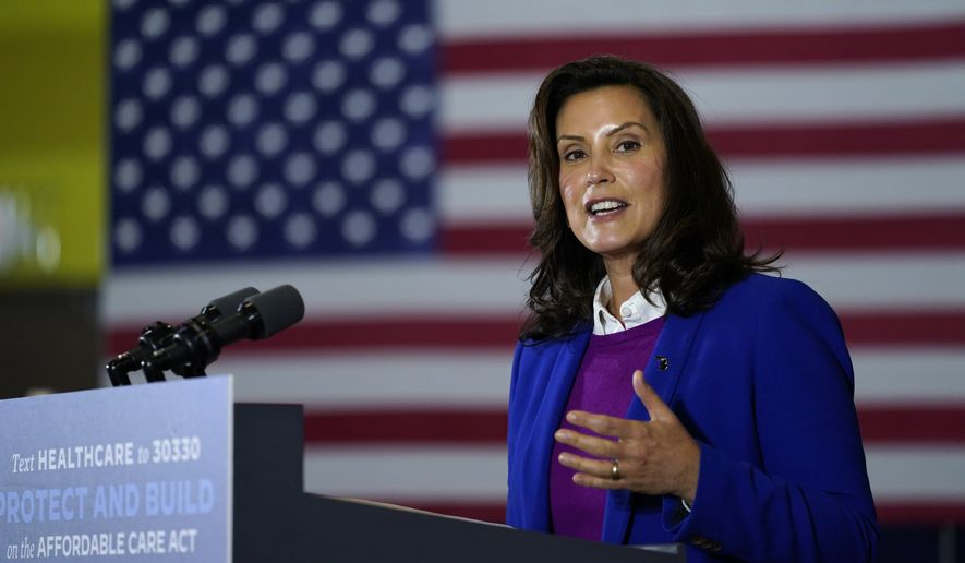Michigan Gov. Gretchen Whitmer speaks during an event with Democratic presidential candidate former Vice President Joe Biden at Beech Woods Recreation Center, in Southfield, Mich., Friday, Oct. 16, 2020. (AP Photo/Carolyn Kaster)
