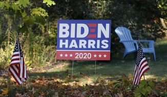 A campaign yard sign shows support for former Democrat Vice President Joe Biden and running mate Sen. Kamala Harris, Thursday, Oct. 15, 2020, in Marlborough, Mass. (AP Photo/Bill Sikes)