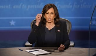 Democratic vice presidential candidate Sen. Kamala Harris, D-Calif., participates in the vice presidential debate with Vice President Mike Pence Wednesday, Oct. 7, 2020, at Kingsbury Hall on the campus of the University of Utah in Salt Lake City. (AP Photo/Julio Cortez)